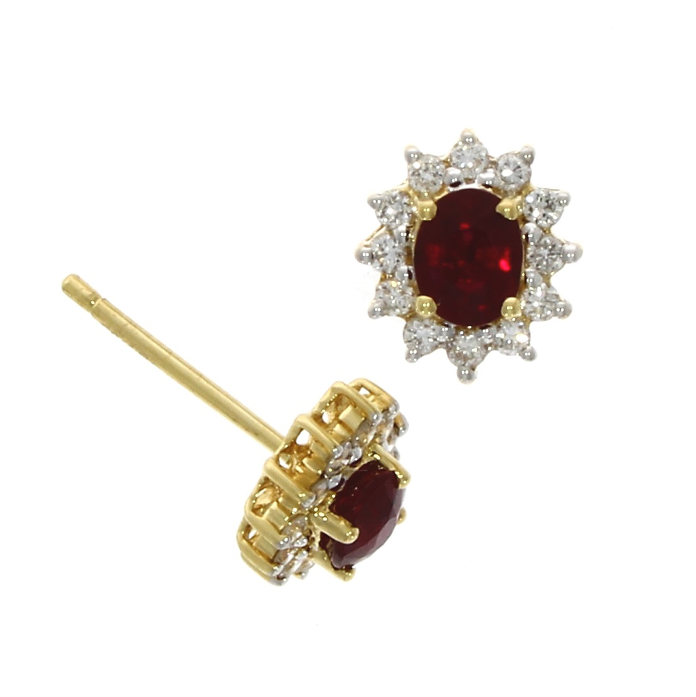 18ct Ruby & Diamond Oval Star Cluster Yellow Gold – Not Just Gold