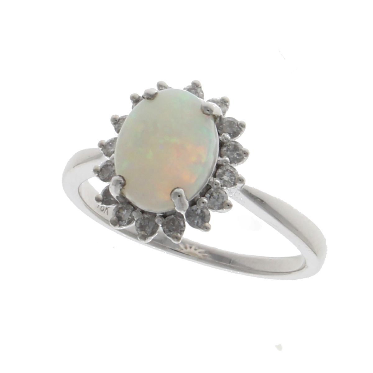 18ct opal large claw set oval cluster white